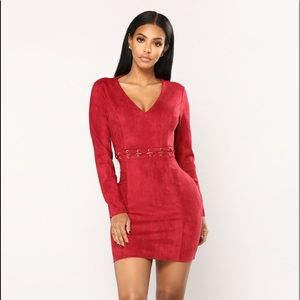 NWT-Burgundy Swede Dress